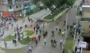 Huánuco: obreros de construcción civil se enfrentan violentamente en la calle