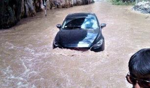 Río Cañete inundó parte de la carretera Yauyos-Chupaca