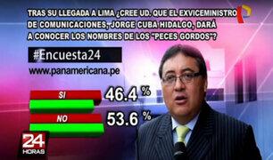 """Encuesta 24: 53.6% no cree que Jorge Cuba dará nombres de """"peces gordos"""""""
