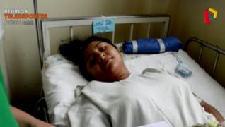 Operan gratuitamente a niña con desviación en la columna que llegó desde Puno