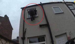FOTOS: ladrón queda atrapado en ventana de casa que quería robar
