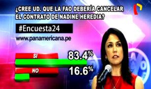 Encuesta 24: 83.4% cree que la FAO debería cancelar contrato de Nadine Heredia