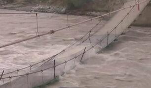 Lunahuaná: histórico puente colgante colapsa por caudal del río Cañete