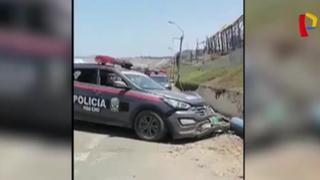 Huacho: patrullero choca contra poste y queda destrozado