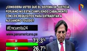 Encuesta 24: 73.3% cree que sistema de justicia peruana no cumple con requisitos para extraditar a Toledo