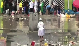 Ate: desborde de río Surco inunda centro comercial