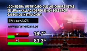 Encuesta 24: 83.3% cree injustificado que congresistas cobren gastos de instalación