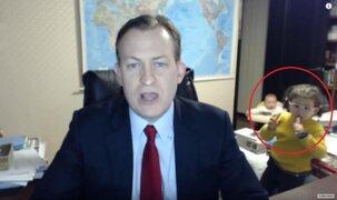 Brindaba una entrevista para la BBC desde su casa cuando ocurrió lo impensable