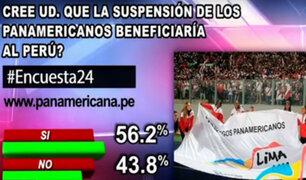 Encuesta 24: 56.2% cree que suspensión de Panamericanos beneficiará al país