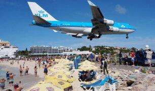 Los peligrosos aterrizajes de aviones en Saint Martin