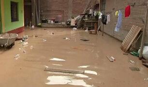 Huachipa: calles y viviendas inundadas tras desborde del río Huaycoloro