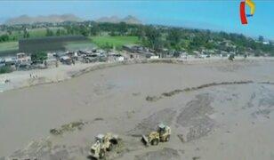 Imágenes aéreas muestran daños causados por el río Lurín