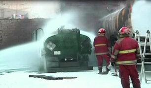 San Martín de Porres: se registró incendio en almacén de gas