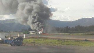 Avión que transportaba 140 pasajeros se incendió en aeropuerto de Jauja