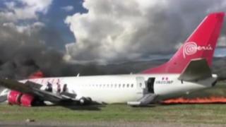 Jauja: registran primeros instantes al interior de avión que se incendió