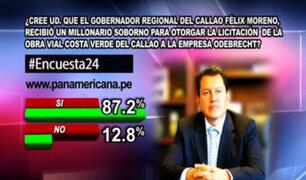 Encuesta 24: 87.2% cree que Félix Moreno recibió soborno millonario