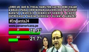 Encuesta 24: 78.3 a favor de que fiscal viaje a Brasil para corroborar pagos a Nadine y Humala
