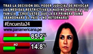 Encuesta 24: 85.2% cree que Nadine Heredia abandonará el país
