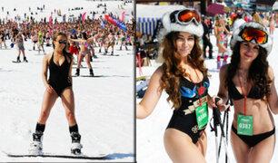 Se bate récord de mayor número de esquiadores en trajes de baño en Rusia