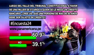 Encuesta 24: 60.9% cree que una persona de más de 80 años debe ser sujeto de crédito