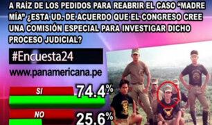 """Encuesta 24: 74.4% cree que Congreso debe investigar caso """"Madre Mía"""""""
