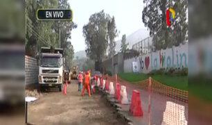 Inician obras de ampliación de carriles en avenida La Molina