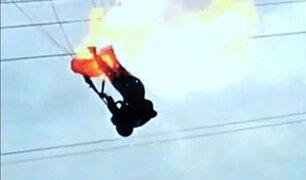 Sri Lanka: paracaidista choca contra cables eléctricos y provoca explosión