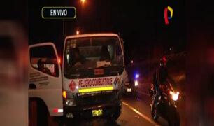 San Miguel: dos heridos tras choque de auto contra camión de gas
