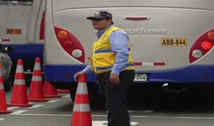 Conos en la vía del Corredor Azul ocasionan gran congestión vehicular