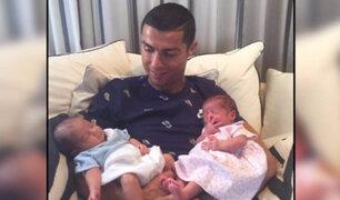 Cristiano Ronaldo presentó a sus hijos gemelos en redes sociales