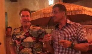 Arnold Schwarzenegger celebró sus 70 años junto a Sylvester Stallone
