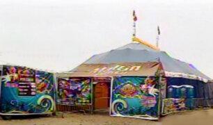 SMP: instalan carpa de circo en huaca prehispánica