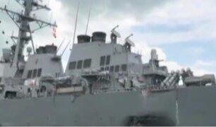 Choca destructor misil de EEUU contra buque petrolero en Singapur