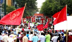 Centro de Lima: gran congestión vehicular por marcha de CGTP y otros gremios