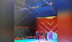 Nuevo Chimbote: trapecista sufrió aparatosa caída en pleno show