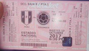 Piden hasta 3 mil soles por una entrada para el partido Perú vs Colombia