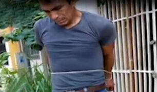 Tarapoto: capturan a delincuente y lo atan a un poste de luz