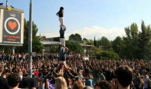 España: estudiantes protestan en contra del artículo 155 de la Constitución de Cataluña