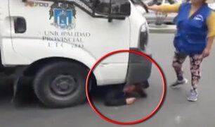 Trujillo: mujer se mete debajo de camión para evitar decomiso de mercadería