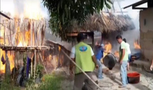 Incendio consume tres viviendas en Tocache