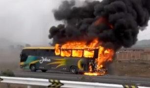 Cañete: bus interprovincial se incendia en la carretera Panamericana Sur