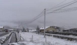 Intensa nevada cubrió de blanco la ciudad de Cerro de Pasco