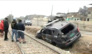 Chaclacayo: dos efectivos heridos tras volcadura de patrullero