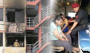 San Juan de Lurigancho: policías salvaron a dos personas de morir en un incendio