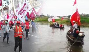 Iquitos: obreros de construcción civil bloquean acceso al río Itaya