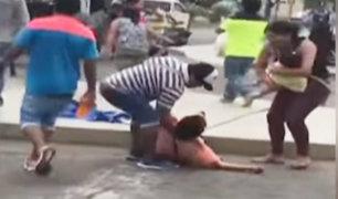 Serenos dejan inconsciente a vendedora informal con niña en brazos en Trujillo