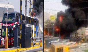 El Agustino: bus interprovincial se incendia en la Vía de Evitamiento