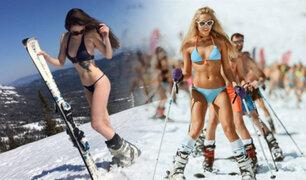 Siberia: cientos realizan esquí en bikini a 40 grados bajo cero