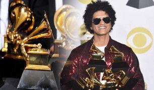 El talento de Bruno Mars arrasa en la gala de los premios Grammy 2018