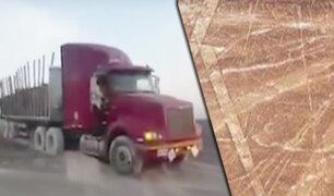Ica: camión invade zona intangible de las líneas de Nasca